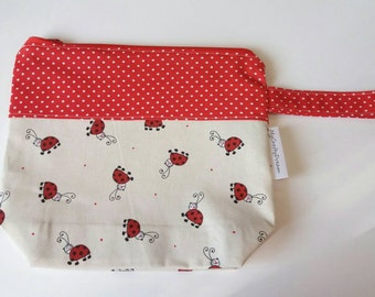 "Knitting or Crochet Project Bag ""Lady Bug"", small size, socks size-Tote Bag knit or crochet, size small"