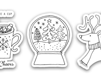 Christmas Coloring Decals - Christmas Doodles