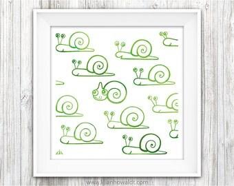 Snailmeleon   Snails & Chameleon   Square Art Print   Illustration   Modern Wall Art   Cute Animal Art   Children's Room Decor   Nursery Art