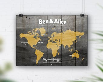 Yellow World Map, Travel Bucket List, Personalised Travel Map, 1st Wedding Anniversary Gift, 40th Birthday, Places We've Been, Wood Wall Art