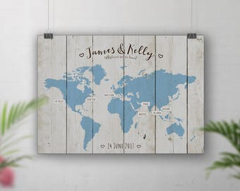 Wedding Guest Book Alternative, World Travel Map, Wood Wall Art, Travel Map Personalised, Theme Wedding, Places We've Been, Wedding Signs