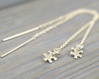 Puzzle threaders, Autism Awareness gift, Threader Earrings, Puzzle jewelry, Pull-through earrings, Puzzle piece threaders, Solid 925 silver