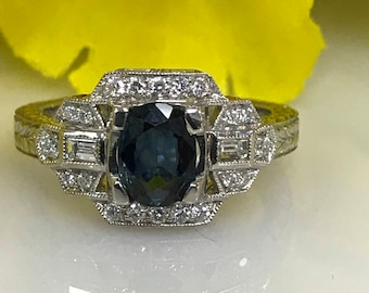 Art Deco Inspired Sapphire and Diamond Fashion/Engagement Ring in 14K White Gold #4049