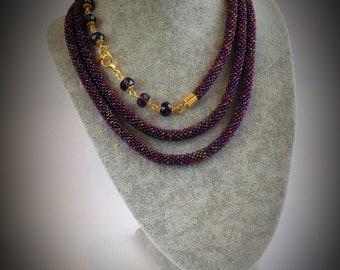 Handmade beaded Lariat, Crocheted bead lariat