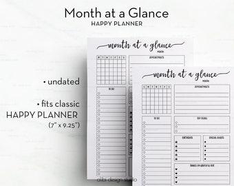 Month at a Glance • Happy Planner Inserts • MAMBI Monthly Planner • Monthly Organizer • Happy Planner Printable • MAMBI Inserts • MAMBI