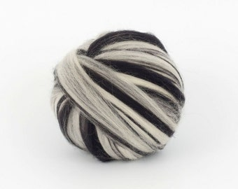 BlackMelange B107, 1.78oz (50gr) 22mic fine merino felting wool, for needle felting, wet felting, spinning. 100% wool.