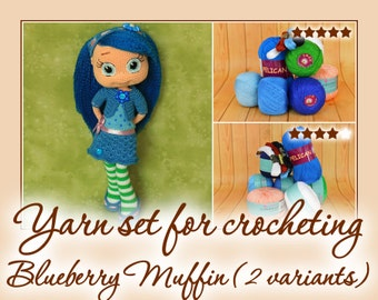 Yarn set for crocheting Blueberry Muffin