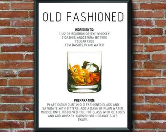 Recipe, Call Me Old Fashioned Print, Wall Art, Old Fashioned Print, Quote, Home Decor, Bar Art, Kitchen Art, Printable Art