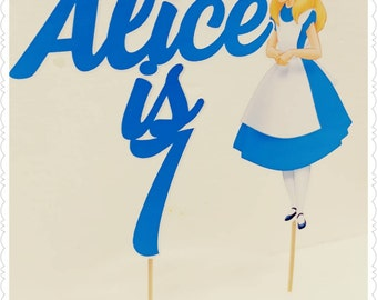 Alice in Wonderland--Inexpensive Personalized Cake Toppers with Name & Character--Kid's Birthday Party Decorations