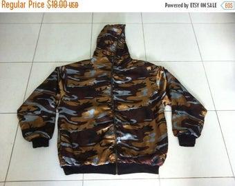 30% SALE Pro Club Brand Camo Reversible Full Zip Hood ( Camo / black ) Size XL