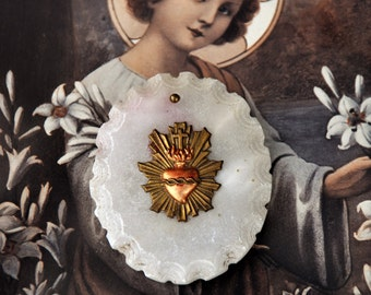 Sacred Heart Medallion/Marble Sacred Heart Religious Medallion with Brass Heart/French Rustic Religious Medallion Plaque/Religious Icon