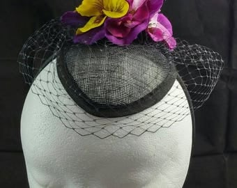 Purple Pansies and Black Veiling with Purple Butterfly Fascinator