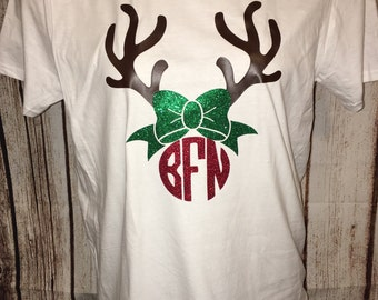 Christmas Shirt Personalized Christmas TShirt Personalized Reindeer TShirt Reindeer Shirt Christmas Shirt Holiday Shirt