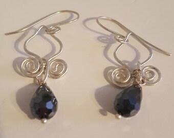 Silver Swirled Lotus Petal Earrings with Black Briolette