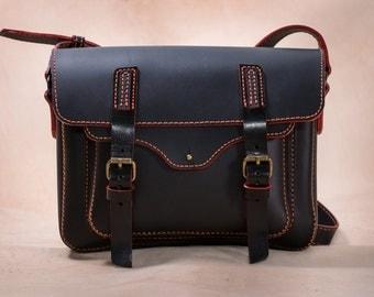 Handmade Leather Messenger Bag, Black and Red
