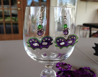 Mardi Gras Mask Dangle Earrings
