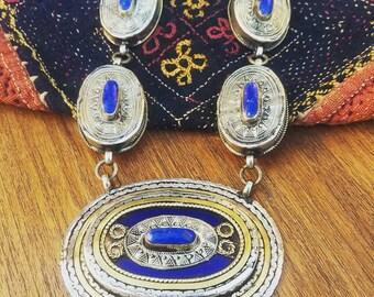 Ethnic tribal nomadic vintage necklace, lapis oval metal pendants, tribal fusion boho Turkmen necklace