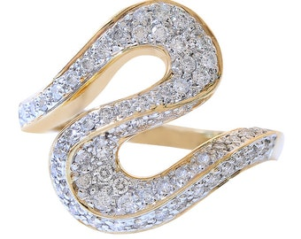 0.75 Carat Round Cut Diamond S Shaped Ring 14k Yellow Gold