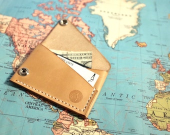 Handmade Leather Wallet, Slim Card Holder, Handcrafted Minimalist Wallet, Personalized Wallet, Snap Wallet, Everyday Carry