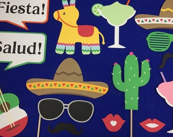 Fiesta Photo Booth Props / Mexican Themed Photo Props / Mexican Wedding Photo Props / Cinco De Mayo / Party Props / Fully Assembled / 19 Pc