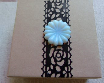 Black lace card board gift box with carved opalite flower, gift box, memento, jewelry storage , bracelet/necklace gift box, Victorian style