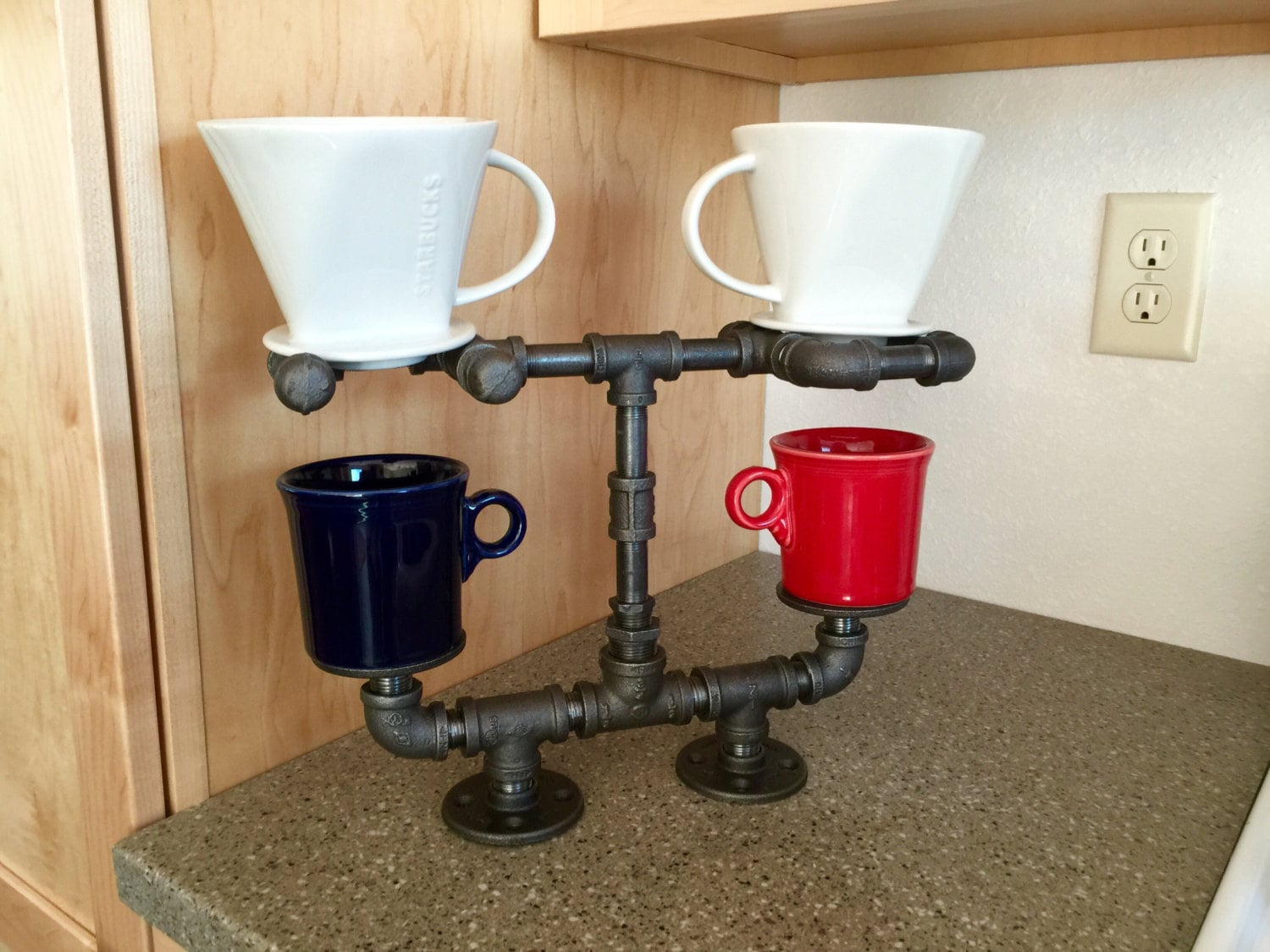 Pour Over Coffee Maker, Coffee Lovers Dream!!Double Cup Stand is Hand Crafted with Heavy Duty ...