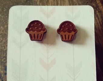 Cute wooden laser cut cupcake earring studs