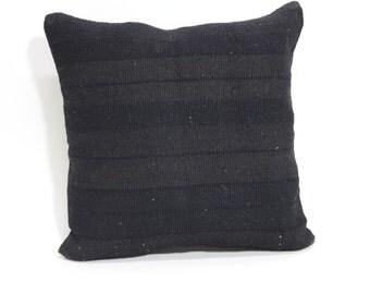 Black Overdyed Kilim Pillow 16x16 Decorative Kilim Pillow Striped Kilim Pillow Throw Pillow Bed Pillow Ethnic Pillow  SP4040 1553