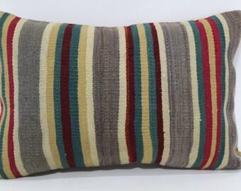 Bohemian Kilim Pillow Throw Pillow Sofa Pillow Ethnic Pillow 16x24 Decorative Kilim Pillow Striped Pillow Ethnic Pillow SP4060-313