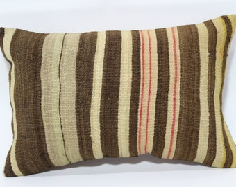 16x24 Bohemian Kilim Pillow Throw Pillow Striped Kilim Pillow Ethnic Pillow 16x24 Striped Kilim Pillow Handwoven Kilim Cover Case SP4060-352