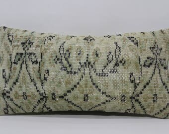 Vintage Turkish Carpet Pillow Cover 12x24 Lumbar Pillow Turkish Pillow 12x24 Faded Pillow Bohemian Floral Turkish Rug Pillow case SP3060-803