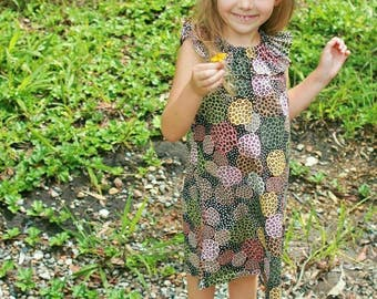 Girls ruffle neck dress Aboriginal pattern material size 2-4