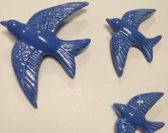 Swallows-Ceramic Swallows - Set of three blue swallows -Blue swallows-Glazed Ceramic- Three sizes- Wall swallows