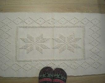 Rag Rug-Rugs-Portuguese Rag Rug- Handwoven Rag Rug Rug- Cotton Rug 50 cm x 100 cm
