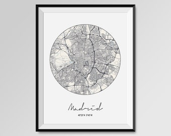MADRID Map Print, Modern City Poster, Black and White Minimal Wall Art for the Home Decor