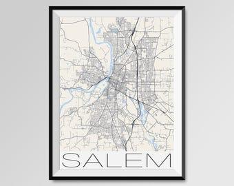 SALEM Oregon Map, Salem City Map Print, Salem Map Poster, Salem Wall Map Art, Salem gift, Custom city maps, Personalized maps, Oregon map