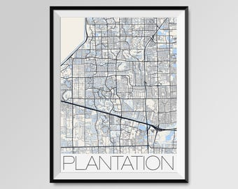 PLANTATION Florida Map, Plantation City Map Print, Plantation Map Poster, Plantation Wall Art, Plantation gift, Custom city Florida map