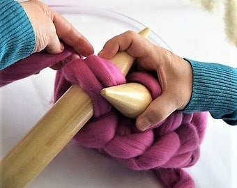 Giant knitting KIT with circular knitting needles LEVEL BEGINER + instructions how to knit giant blankets in 3 different sizes