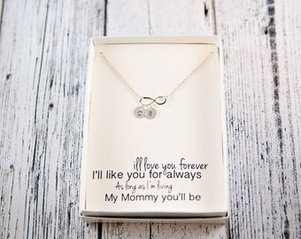 Infinity Necklace, Gift for mom, Mother's Day Gift, personalized jewelry, initial necklace, dainty necklace, silver infinity, mom gift