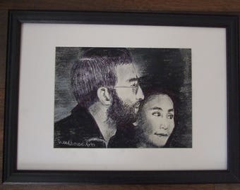 Original framed drawing of John Lennon and Yoko Ono