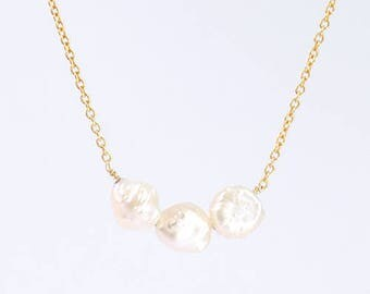 Kopeito Pearl necklace Silver 18 caret plating