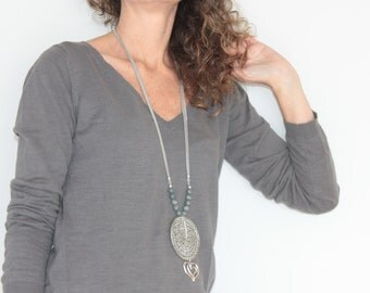 Grey long necklace with pendant heart, grey heart charm necklace pendant, Boho long necklace with pendants, heart long statement necklace