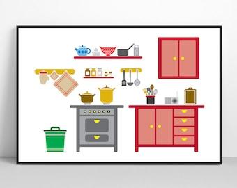 Kitchen Illustration, Home Interior Print, Kitchenware Wall Art, Kitchen Decor, Large Poster, Printable Art, Digital File, Instant Download