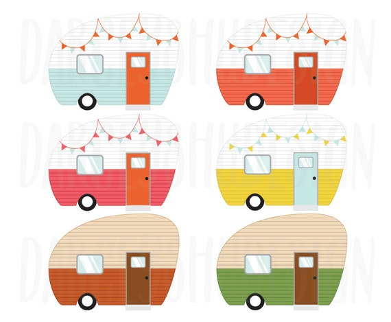 Retro Camper Clipart Clip Art Illustration From DarceyShuDesign On Etsy Studio