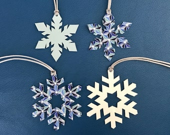 NEW! Double-Sided Leather/Fabric Snowflake Bag Charms