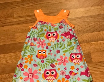 Turquoise And Hot Pink Owl Yoke Dress