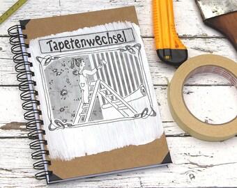 Wallpaper change, renovation, book-moving, housing move, Housing-change, large notebook, brown book, spiral bound, original moving-present,