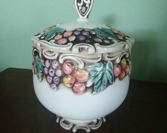 Vintage Covered Ceramic jar/decor