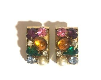 Leru signed clip on colorful rhinestone earrings- signed jewelry colorful rhinestone