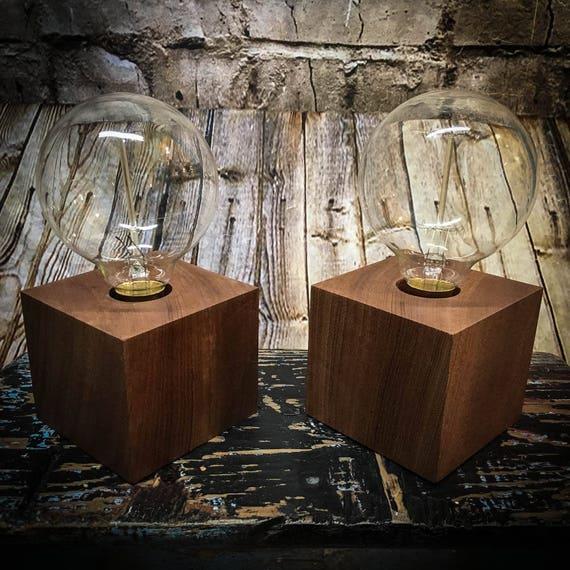 Cube Wood Block Bedside lamps